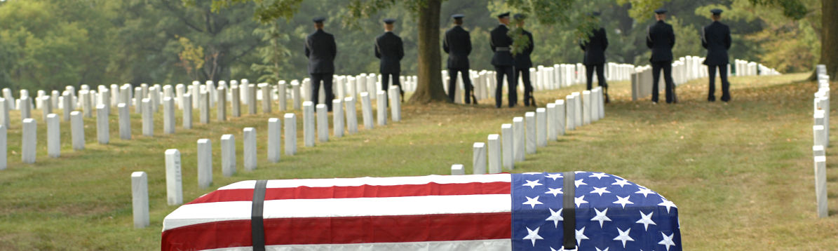 veterans burial in a graveyard