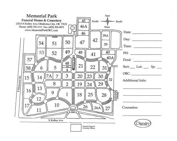 Memorial Park Cemetery Map