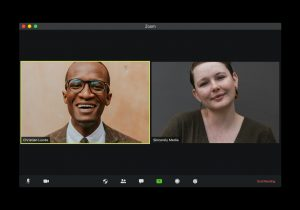 2 people on a virtual meeting
